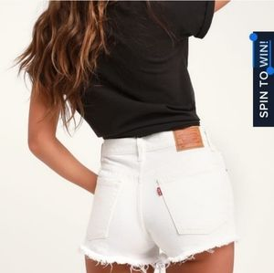 Levis 501 Cut off White Shorts Button Fly 30